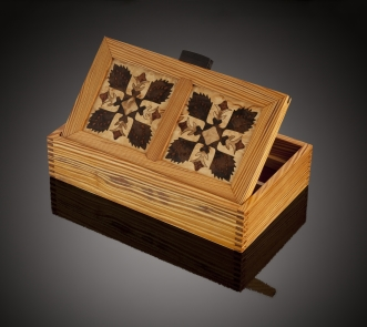 Handmade Quilt Pattern Wood Marquetry Jewelry Box